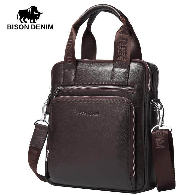 BISON DENIM fashion men bag genuine leather handbags shoulder bags business male brand handbag messenger bag