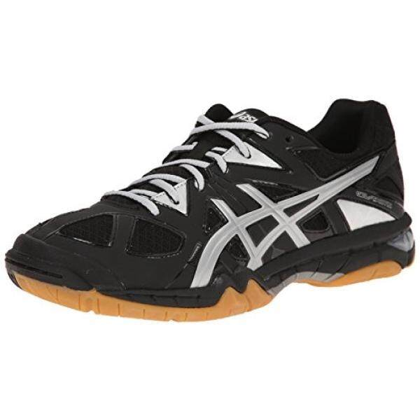 ASICS Womens Gel Tactic Volleyball Shoe, Black/Silver, 8 M US / From USA