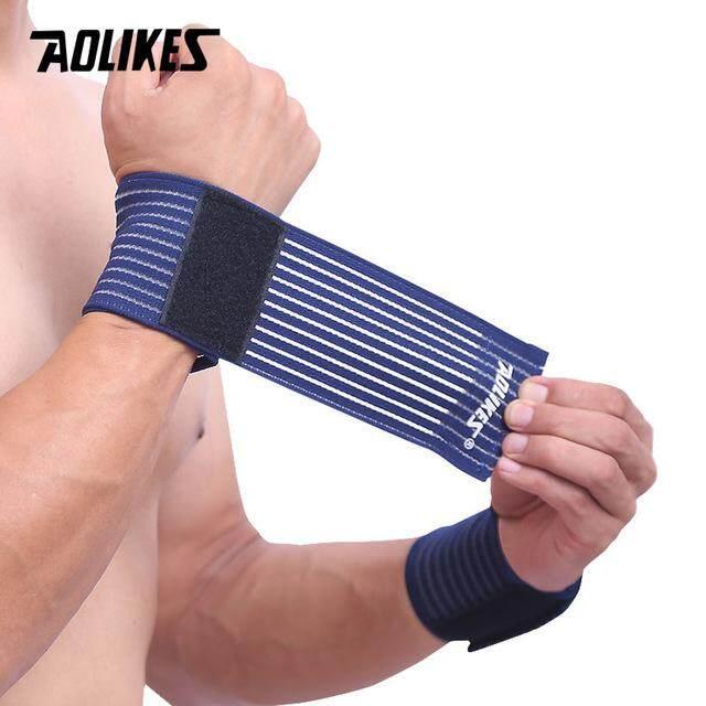 2 Pcs Perban Elastis Tangan Gelang Olahraga Gym Penopang Penahan Pergelangan Tangan Bungkus Carpal