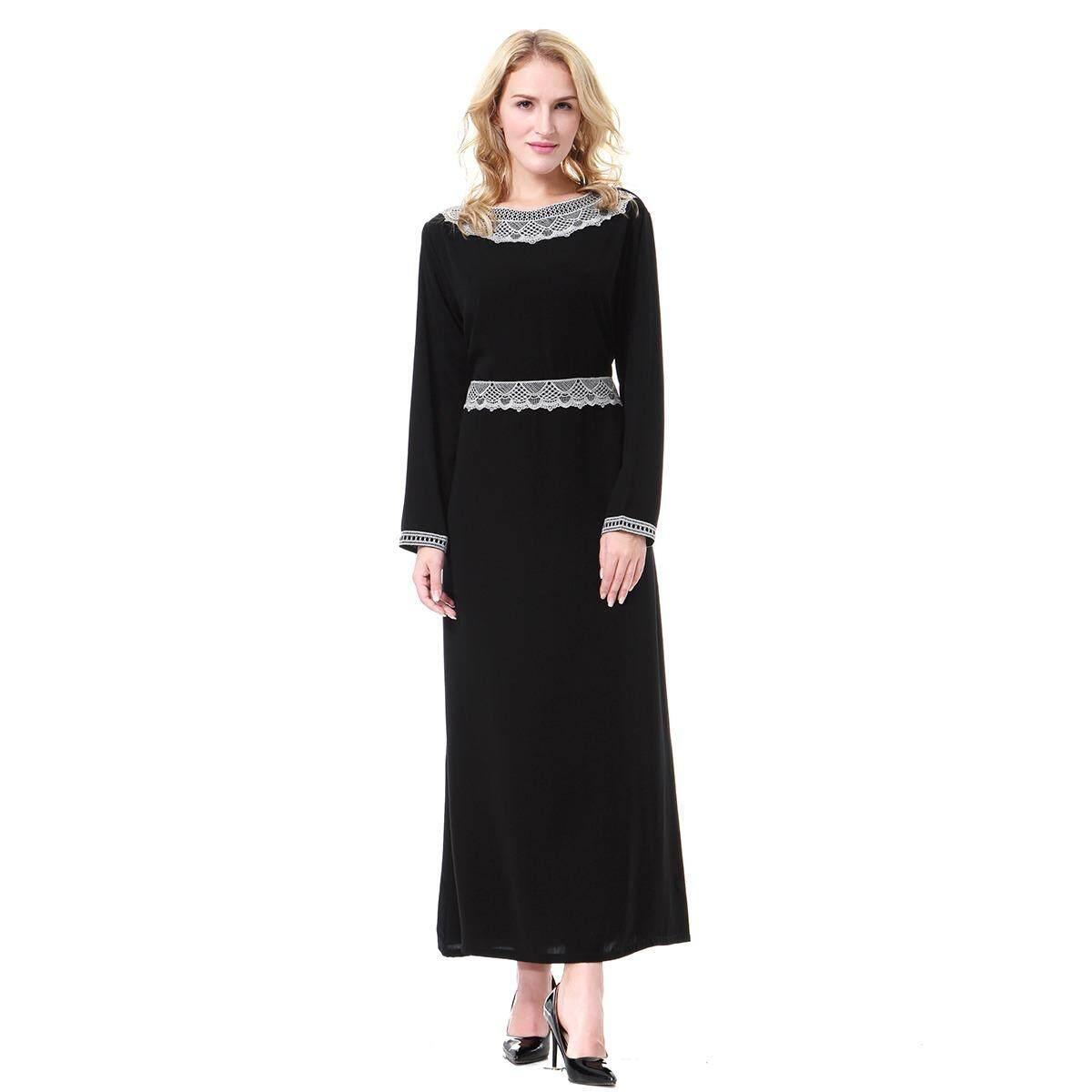Mode Terkini Busana Wanita Muslim Perak Pola Polyester Abaya Kaftan Lengan Panjang Islam Indonesia Gaun Panjang Jubah