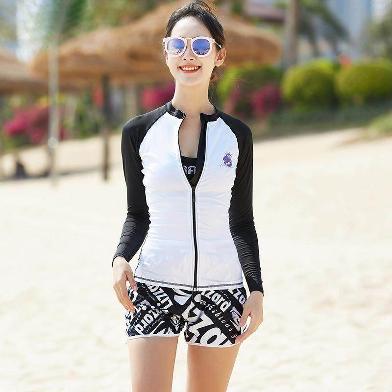 8bf98bb54db689 Women 3 Piece Set UV Sun Protection Rash Guards Front Zipper Shirts+Shorts +Bra