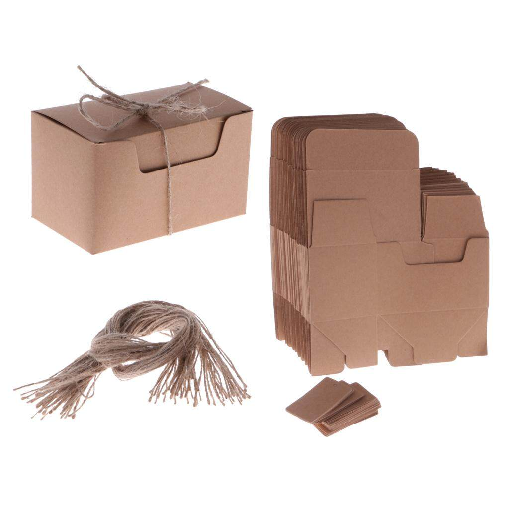 BolehDeals 50pcs Vintage Kraft Paper Boxes Sweets Candy Cookies Brown Rectangular Gift Boxes Wedding Party Supplies Hemp Strings Tags