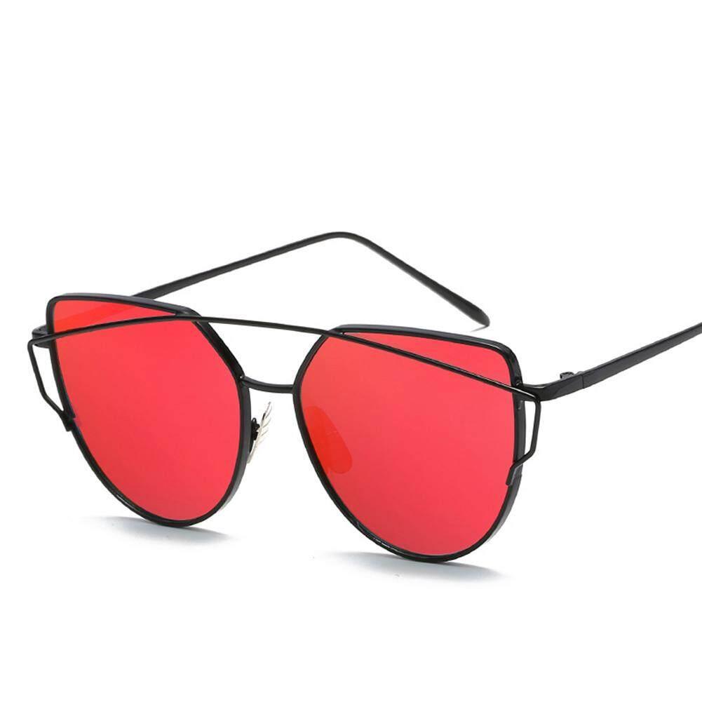 Qimiao Bingkai Logam Wanita Kacamata Mata Kucing Cermin Lensa Datar Retro Jalan Kacamata Hitam Modis Warna