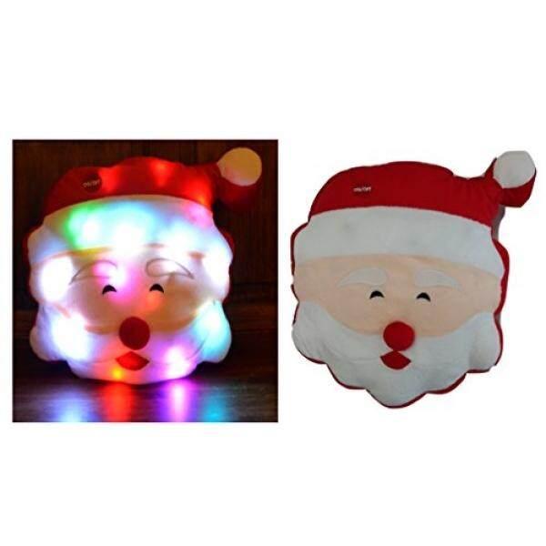 Tache Lucu Lampu Natal Ceria Santa Microbead LED Throw Bantal-Internasional