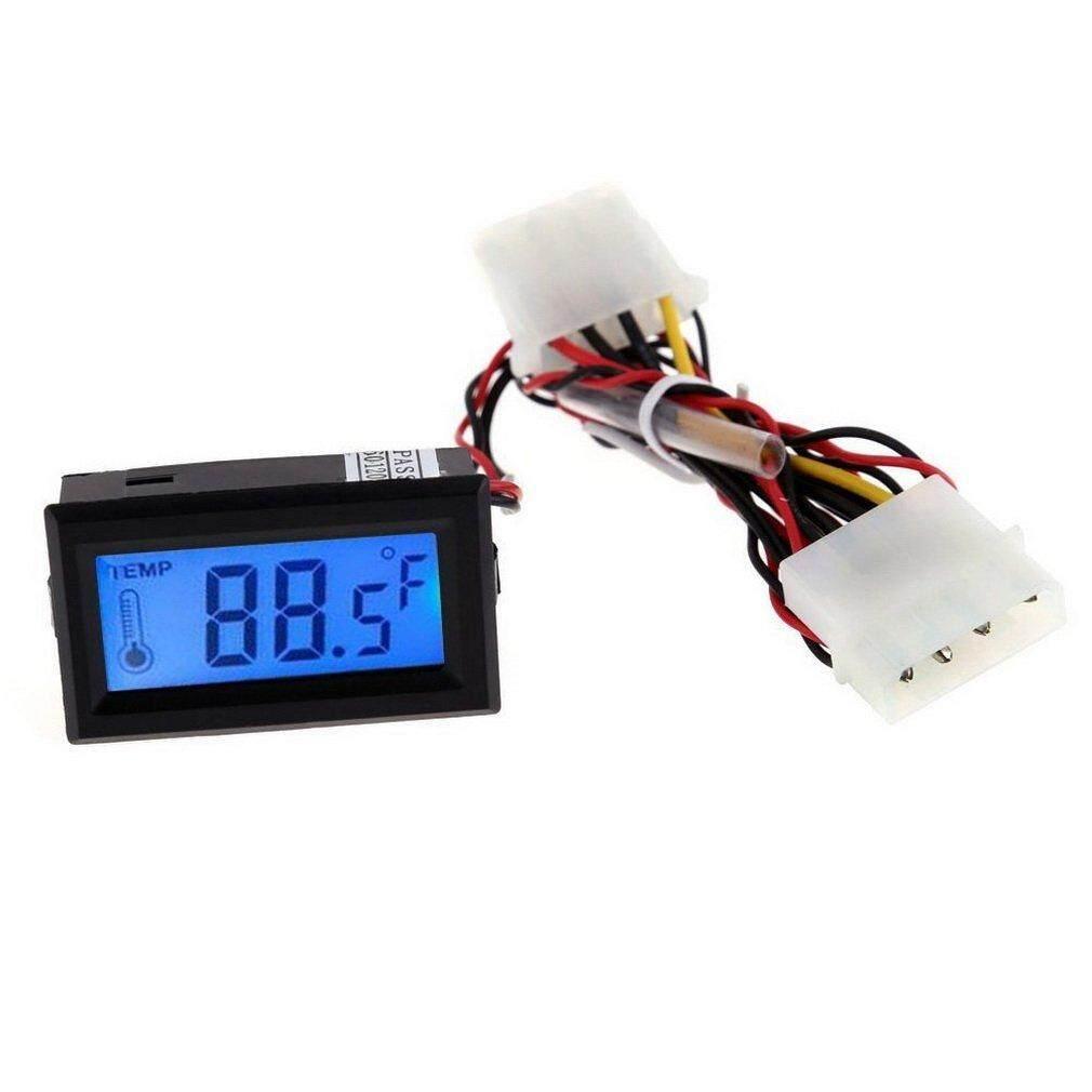 ELEC Digital Thermometer LCD Meter Gauge Detector PC Car Mod C/F Molex Panel Mount