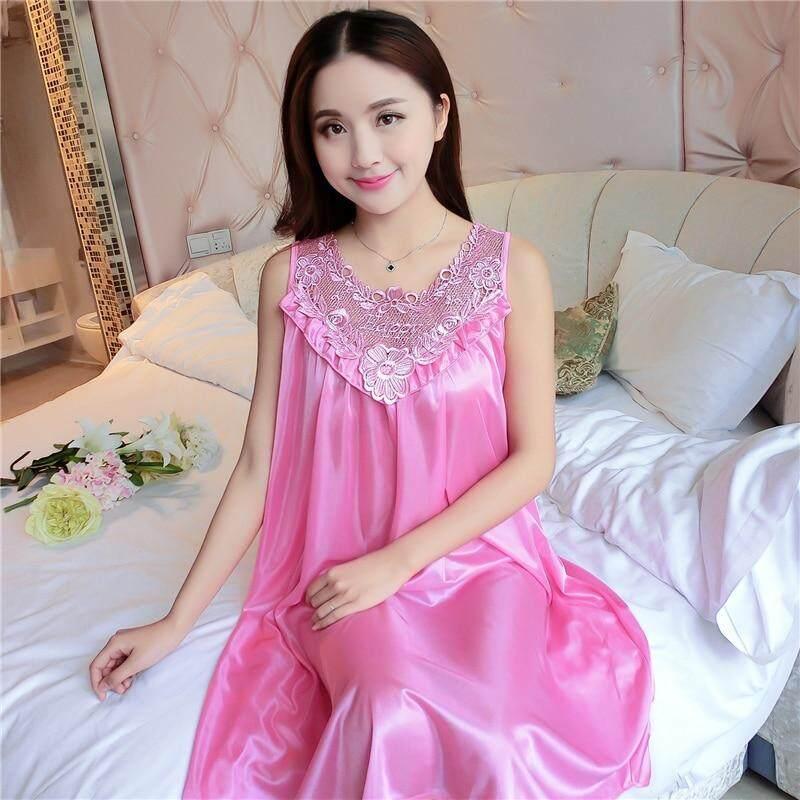 ed0242fab6 Size 4XL Womens Sexy Silk Nightgowns Ladies Lace Long Sleepwear 2018 Summer  Girls Sleeveless Loose Sleepdress