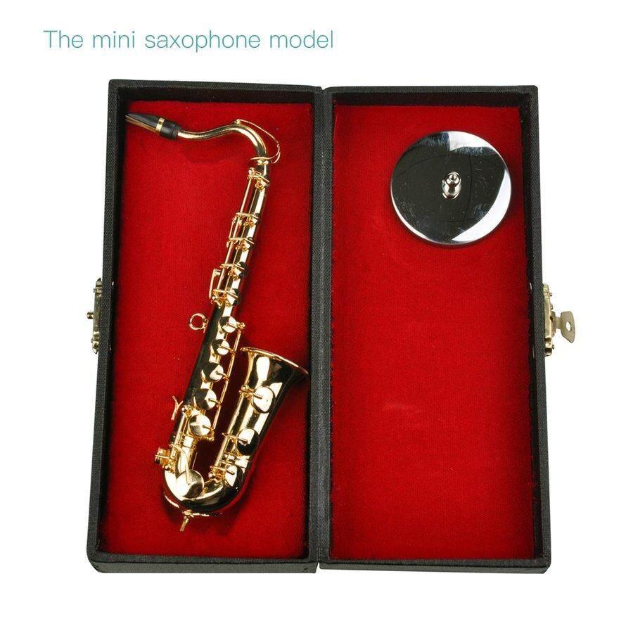OSMAN Mini Saxophone Alat-alat Musik Goldplated Mini Ature Saxophone Dekorasi Rumah