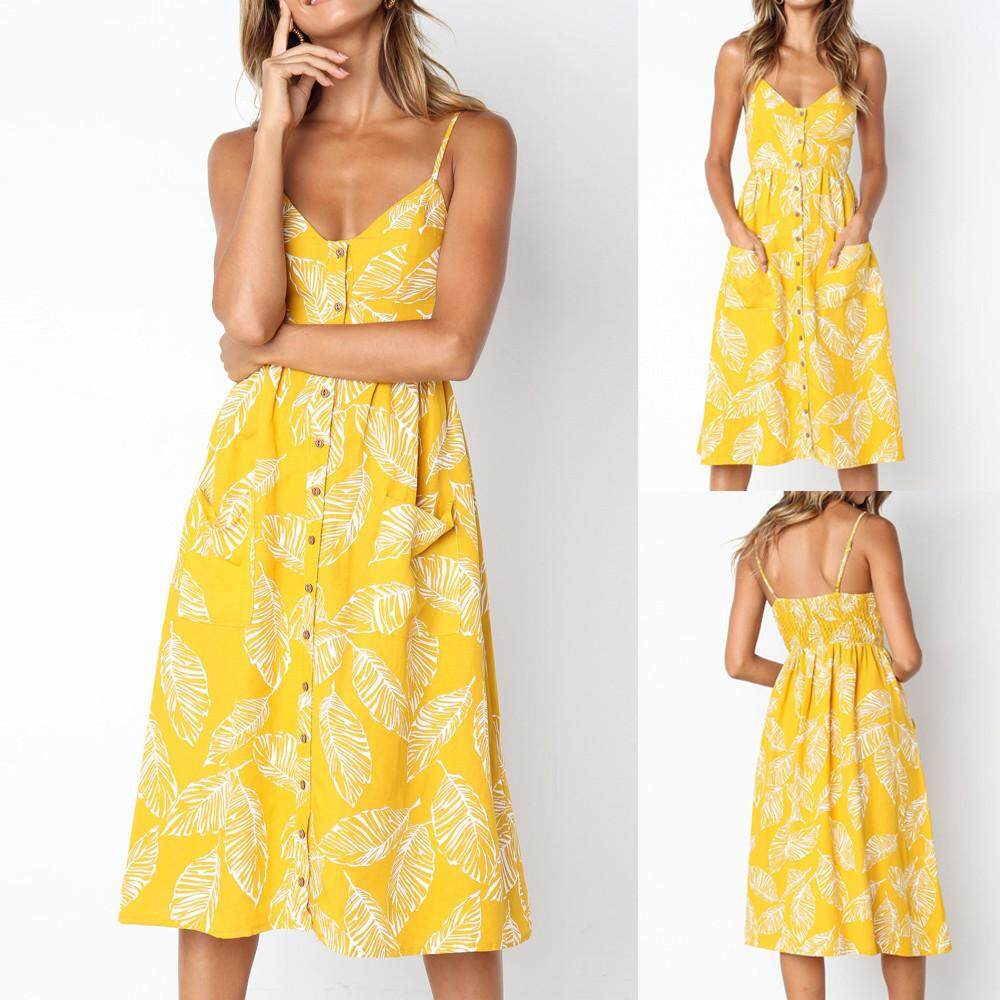Womens Summer Boho Mini Maxi Dress Ladies Halter Casual Beach Party Shirt  Dress Yellow ba42ca88687e