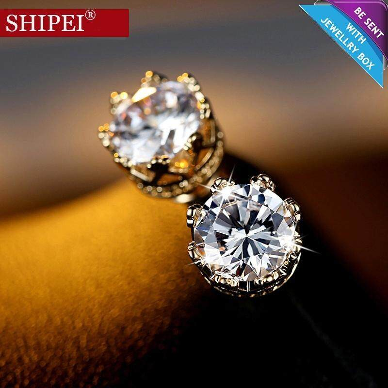 SHIPEI Fashion CZ Diamond+925 Silver Crown Solitaire Earrings for Men/Women(Silver)(Ring Size 5) - intl