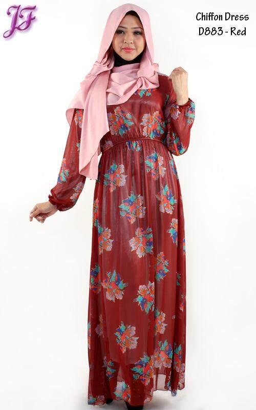 JF Fashion Long Sleeve Chiffon Dress - D883