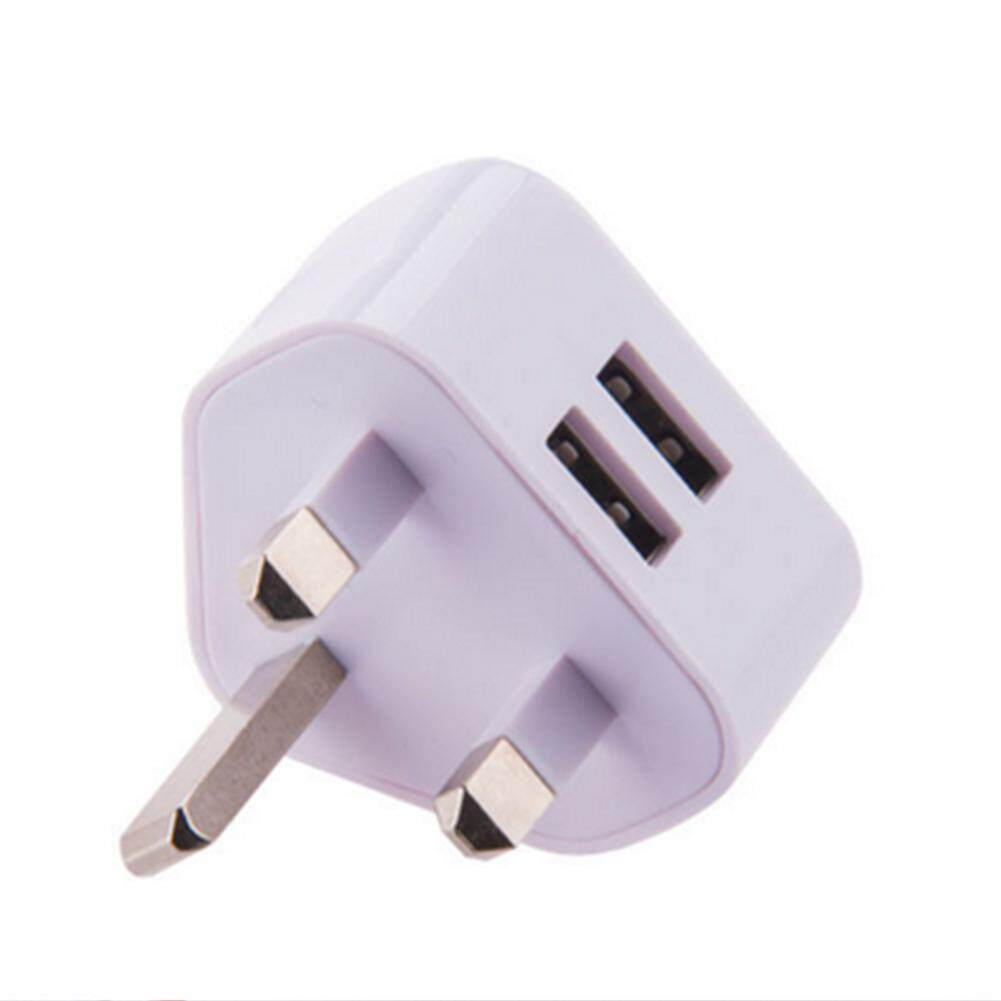 Usb Wall Charger 3pin Uk Plug Dual Port Power 5v 2.1a Adaptor For All Phones By Mototop