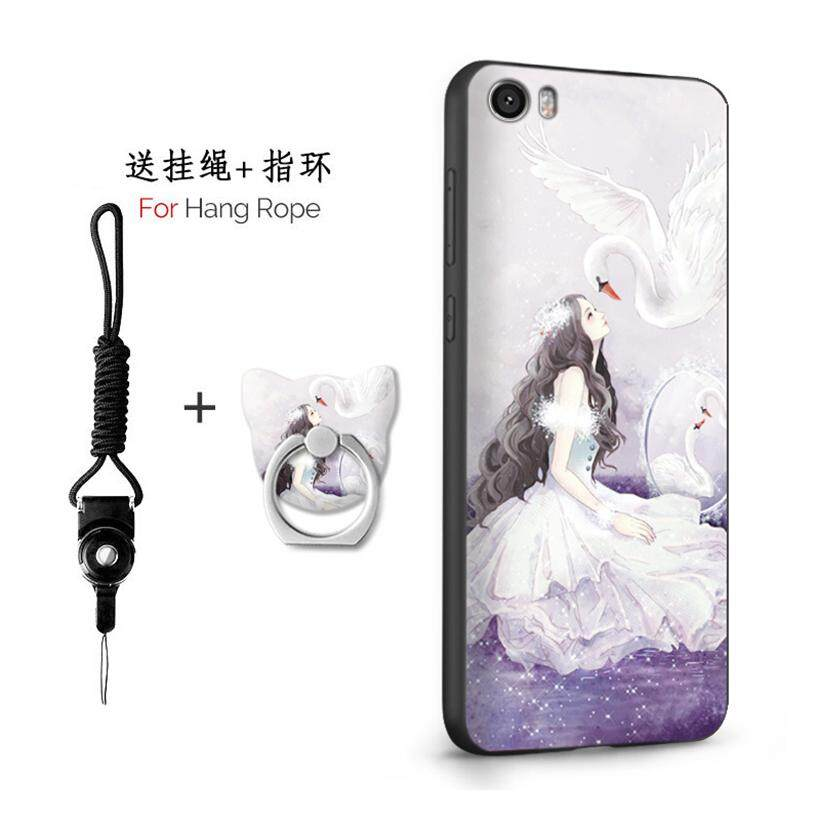 Untuk Xiaomi MI 5/5.15 Inch Case 3D Relief Silikon TPU Berbahan Lembut Anti-Knock Shockproof Kembali Kulit Penutup (1X tali Gantung) + (1 X Sama Bracket)