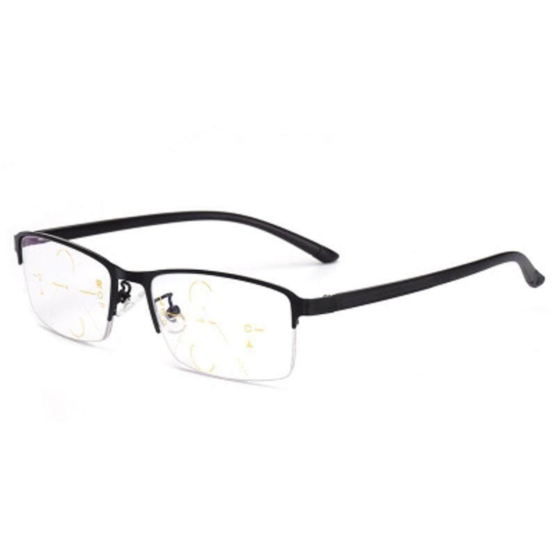Kcasa Progresif Multi Fokus Kacamata Baca Multifokal Logam Kaca 9609 + 250-Internasional