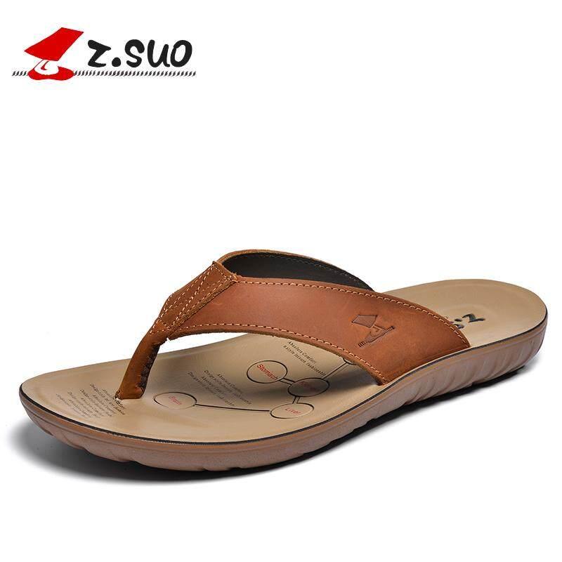 0eb63a2b5 ZSuo Slipper Men s Fashion Sandals 2019 Summer Anti-slip Waterproof Outdoor  Leisure Leather Flip-