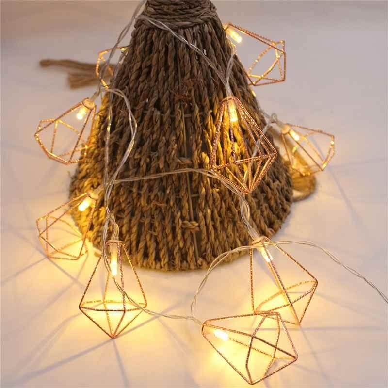 Kerui 10 LED Iron Rustic Cage LanternMetal Diamond Fairy Lights String lights christmas wedding party decoration