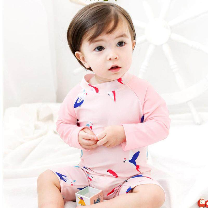 e792cad39b Lovely Cartoon Printed Baby Girls Swimsuits Long Sleeve One Piece Swimwear  Quick Dry Bathing Suit Children