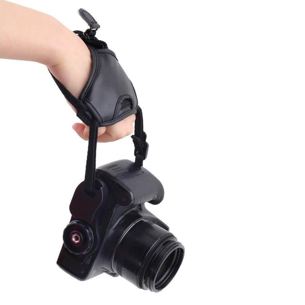 Detail Gambar Qnstar Baik Kualitas Pu Kulit Lembut Kamera Tangan Pegangan Pergelangan Tangan Tali untuk Canon Hitam Terbaru