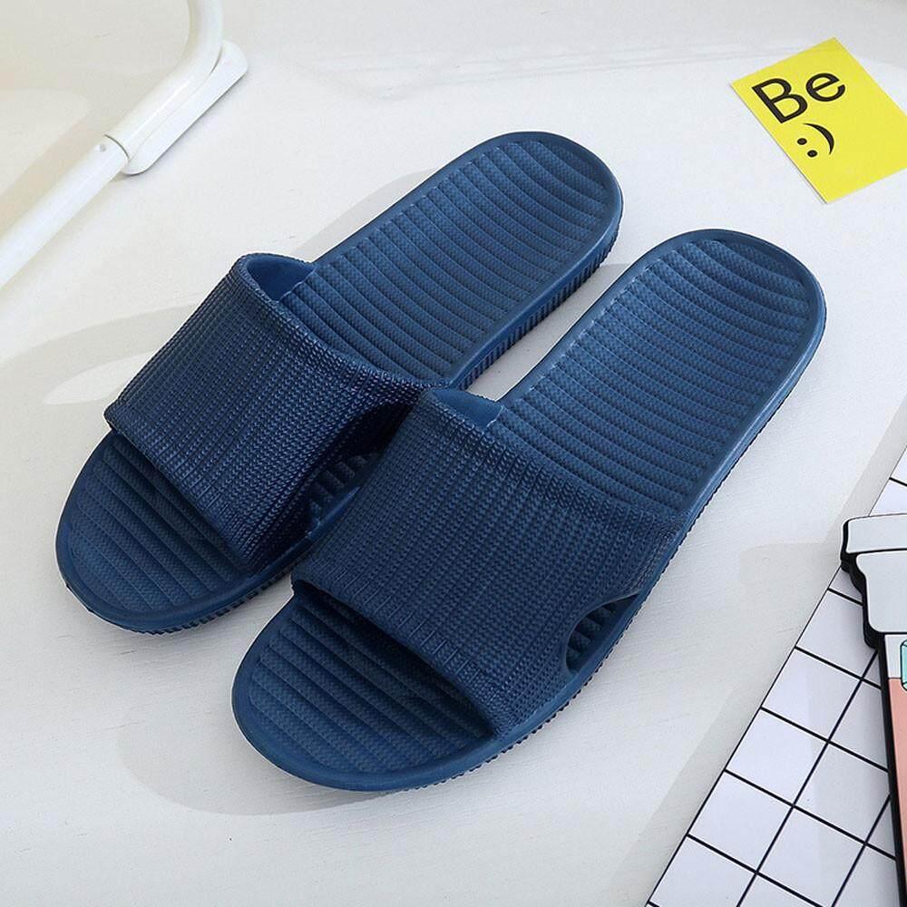 nagostore Men Stripe Flat Bath Slippers Summer Sandals Indoor & Outdoor Slippers - intl