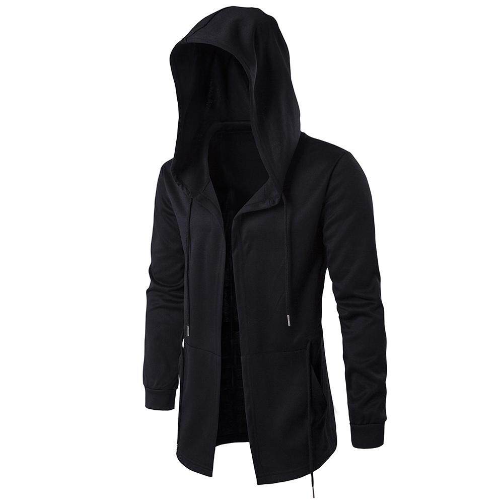 Fs Big Sale Men Retro Black Wizards Cloak Style Cardigan Casual Long-Sleeve Hooded Coat By Four Season Big Sale.