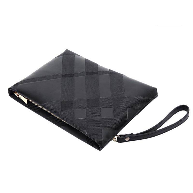 JOHNN New Men PU leatherhandbag Business Long section Wallet Double zipper High capacity Mens bag