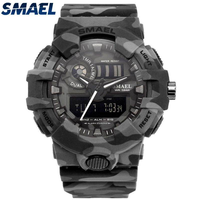 4f981bcdb69 SMAEL Brand Men Fashion Camouflage Military Digital Quartz Watch Mens  Waterproof Outdoor LED Sports Watches
