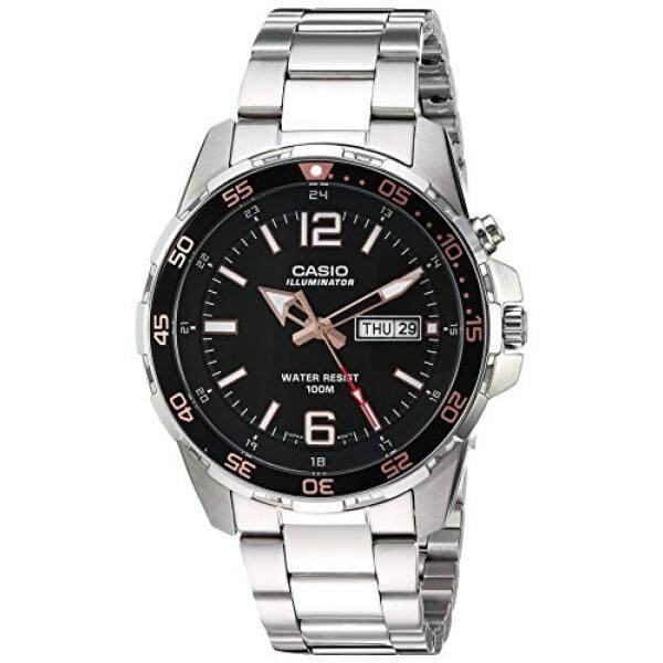 Casio Mens Super Illuminator Quartz Stainless Steel Casual Watch, Color:Silver-Toned (Model: MTD-1079D-1A3VCF)