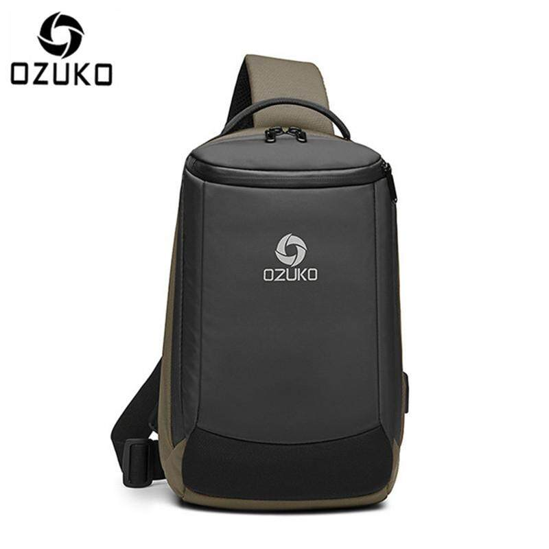 LOSELF - OZUKO USB Waterproof Oxford Chest Bag Fashion Business Bag Casual Crossbody Bag Fashion Travel