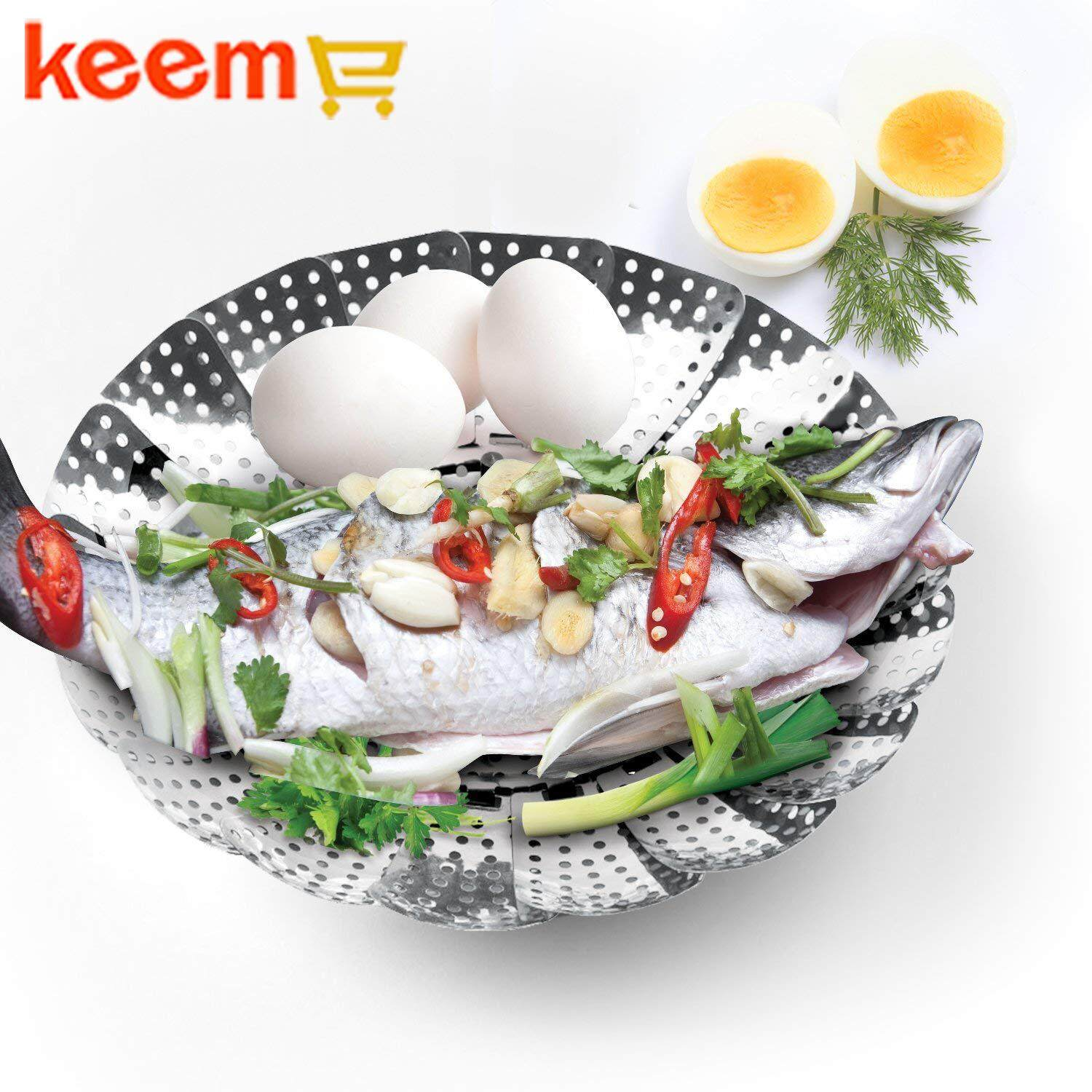 ✨Keeme Vegetable Steamer Basket Set - Steamer Insert for Instant Pot + Safety Tool - 100% Stainless Steel - Pressure Cooker & Instant Pot Accessories, Pot in Pot - Egg Rack✨