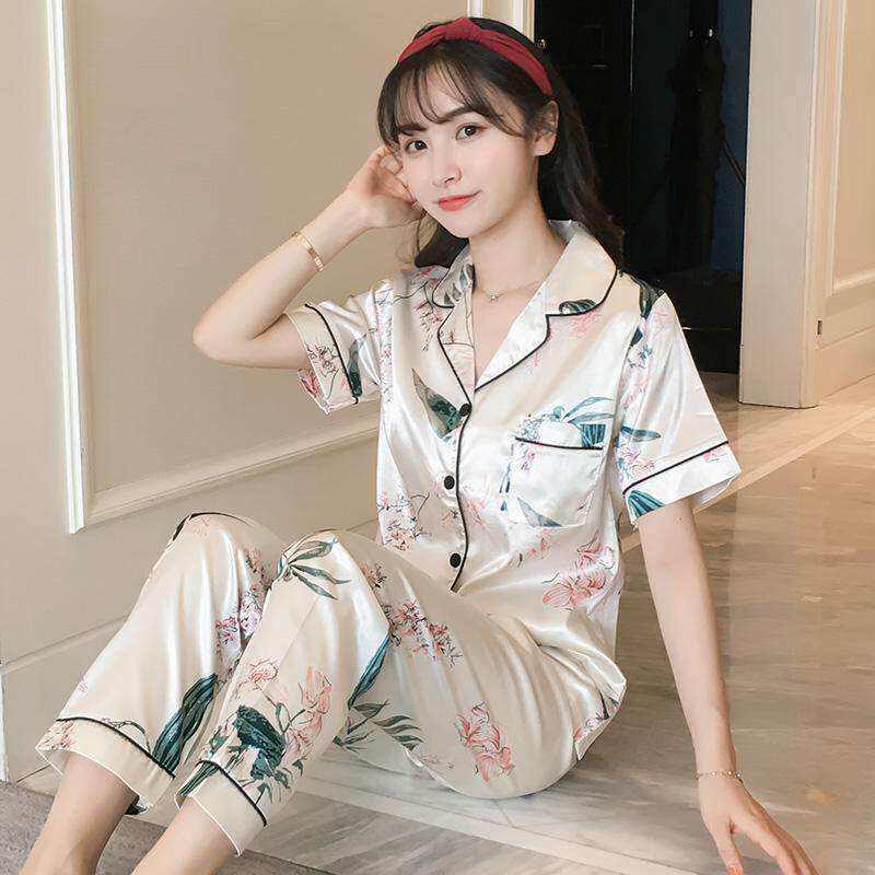 Pajamas women Spring And Autumn Summer Short-sleeved Trousers Viscose Two  Piece Set Cardigan Korean bac9707e1