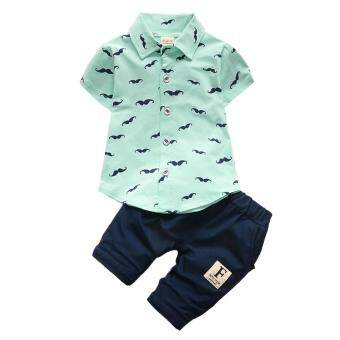 Starmall Baby Boys Beard Printing Clothes Suit Short Sleeve Shirt Tops + Short Pants 2PCS/Set For 1-3Y Summer Beach Clothes