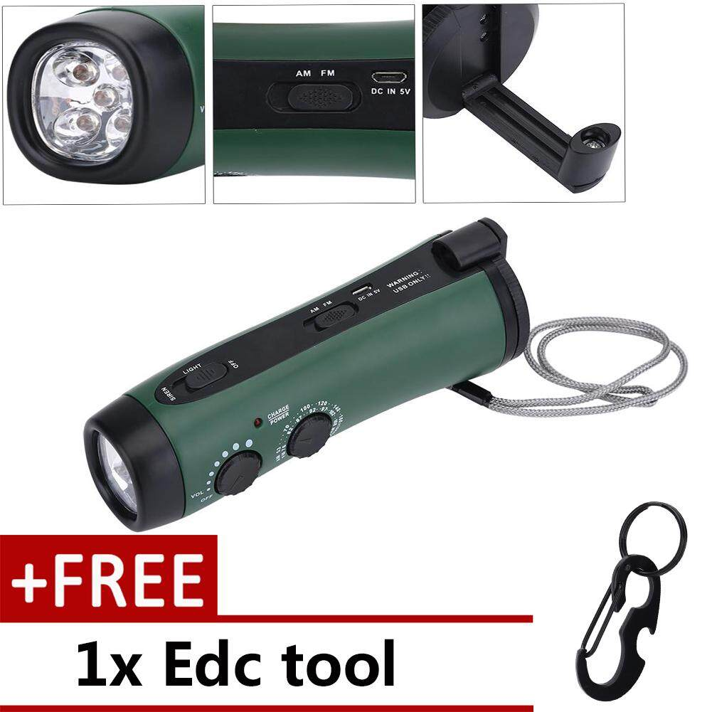 Multi-Function Hand Crank Led Camping Emergency Flashlight Radio Torch Phone Charger Green By Duoqiao.