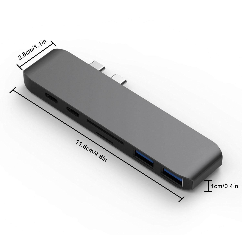 Teekeer Type-C Hub, 7 In 1 Dual USB C Hub Adapter Dongle For Macbook Pro 2016/2017,, Thunderbolt 3 Port 5K@60Hz 40GB/S, USB 3.0 Ports, 4K HDMI SD/Micro Card Reader (Space Gray)