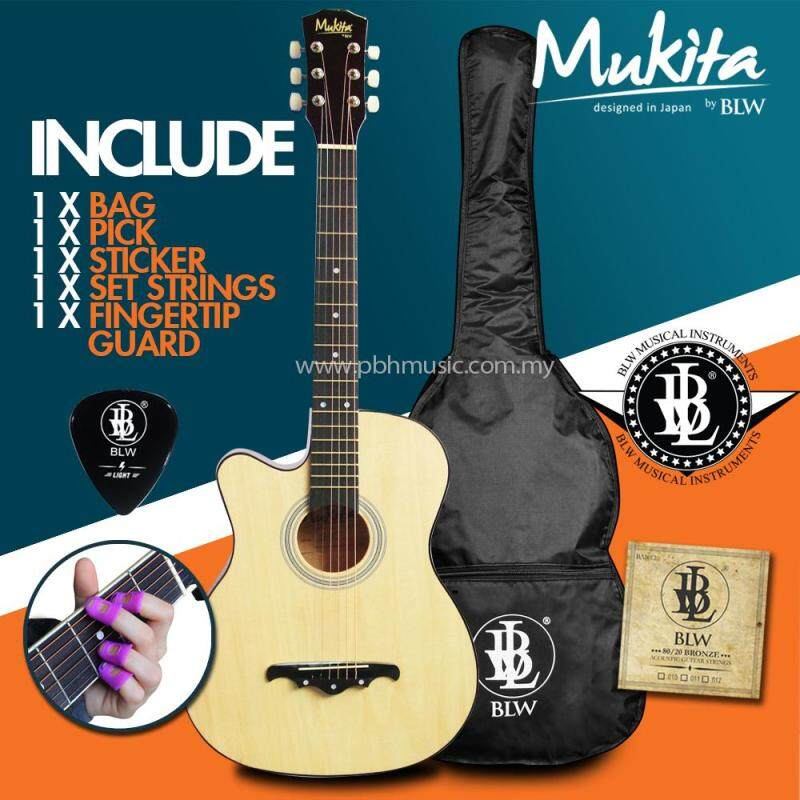[USE VOUCHER 10% OFF] Mukita by BLW Left handed Standard Acoustic Folk Cutaway Basic Guitar Package 38 Inch for beginners with Bag, String Set, Fingertip Guard, Pick and Merchandise Sticker (Natural) Malaysia