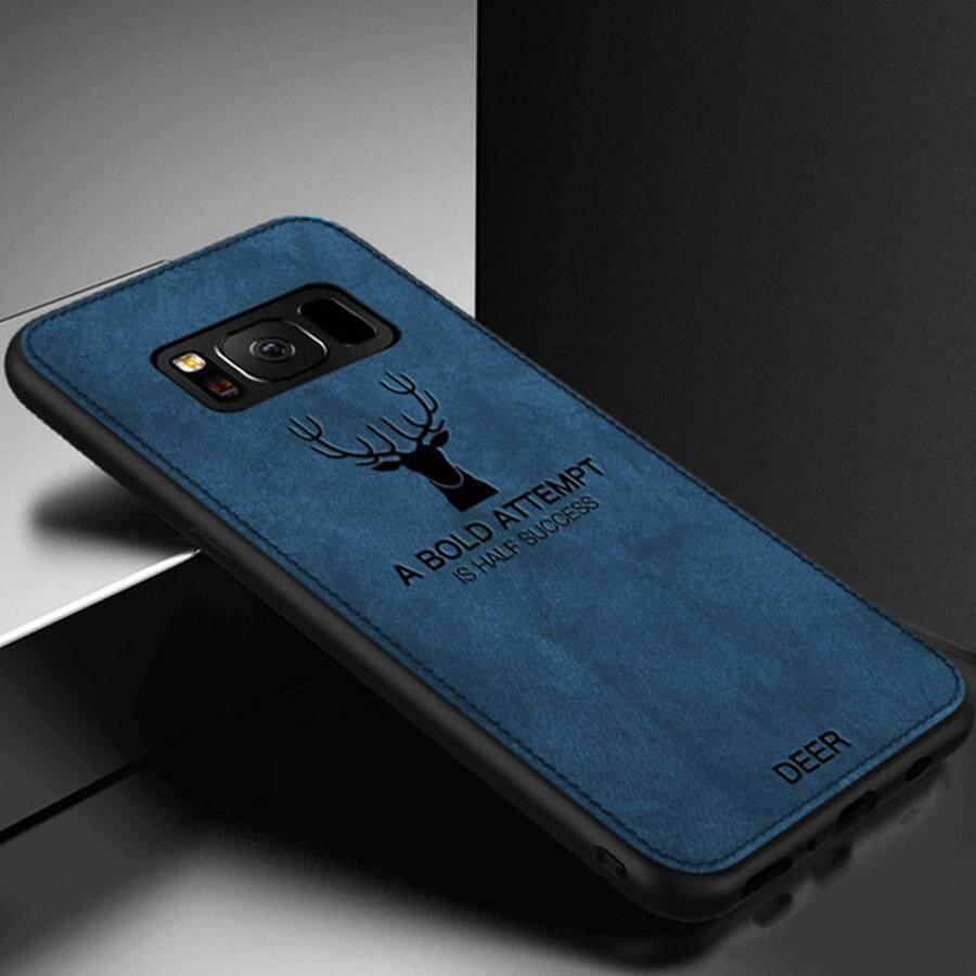 Tepi TPU Lunak Kanvas Timbul Rusa Casing Ponsel untuk Samsung Galaxy S8 Plus Elk Case Kain