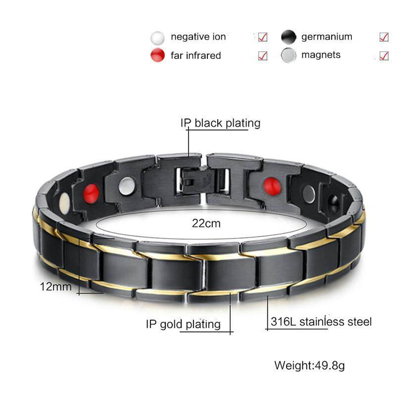 Gents Magnets Healthy Negative Ion Gold Plating Titanium Bracelet(color:black) By Newstart.