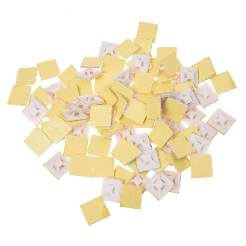 White Self Adhesive Cable Tie Mount Base Holder 100 Pcs