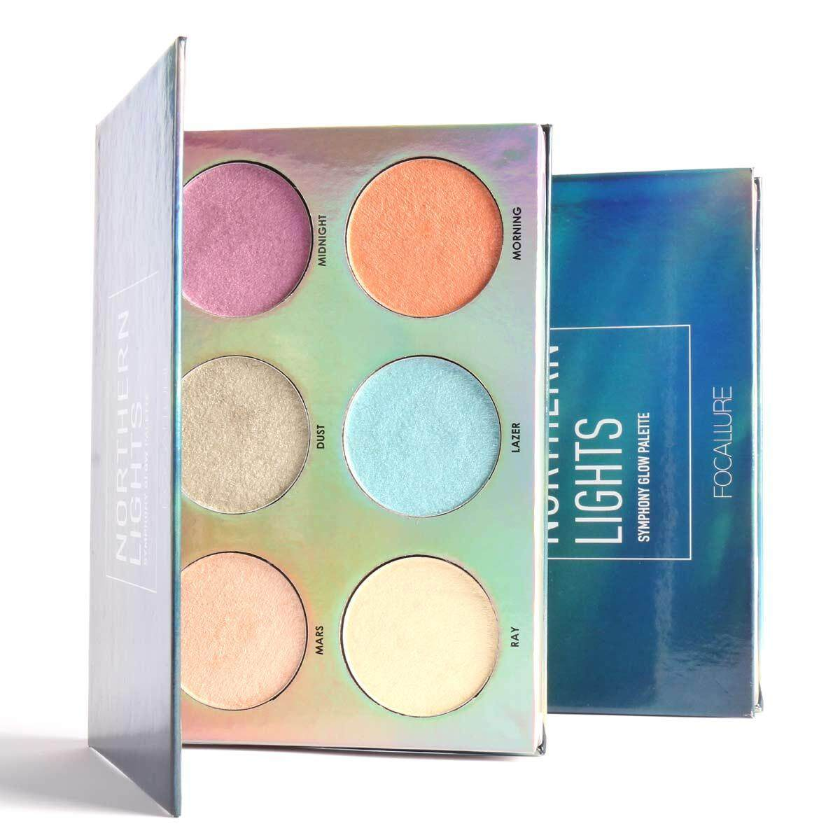 Focallure Bronzer Highlighter Palette Fashion 15g 6-Colors Professional Eye Shadow Long Lasting Facallure -