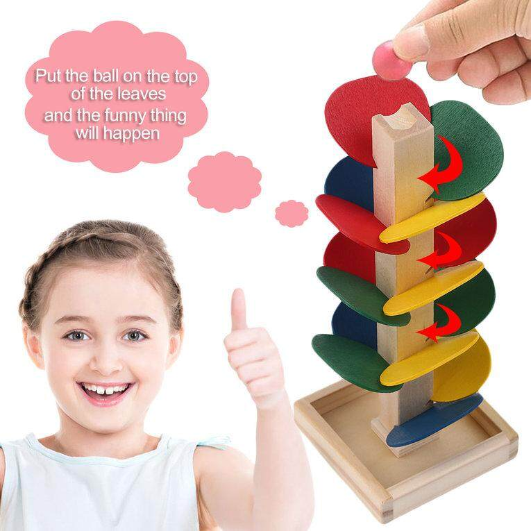 Hình ảnh Unique Wood Tree Leaves Blocks Marble Ball Run Track Game Toy Educational Toy - intl