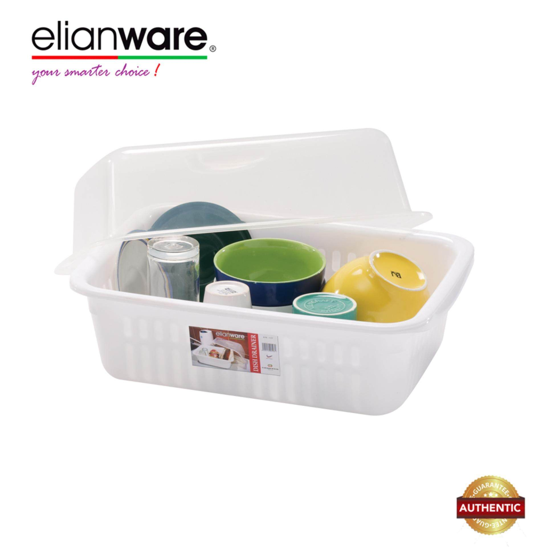 Elianware BPA Free Modern Dish Rack Drainer with Cover