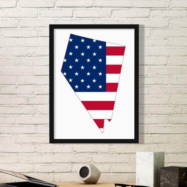 Nevada Amerika Serikat America USA Peta Bintang dan Garis Bentuk Bendera Sederhana Bingkai Foto Seni Stiker Dinding Rumah-Internasional