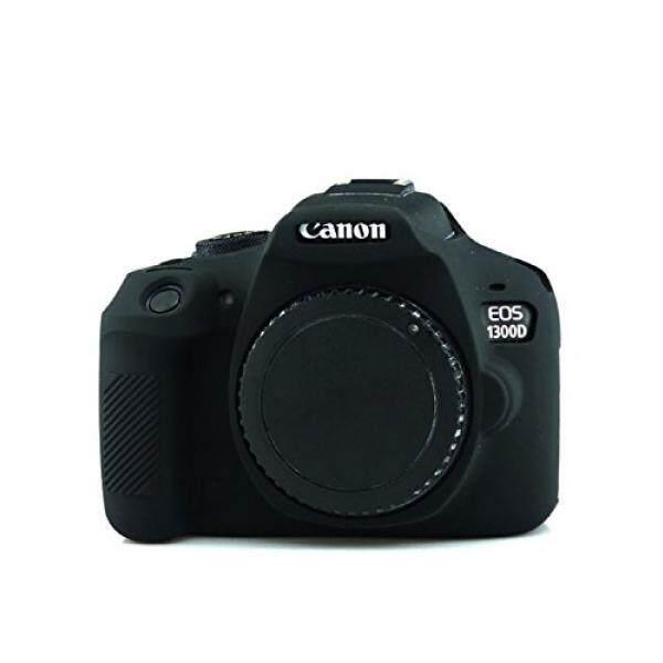 CEARI Silicone Camera Case Full Body Protective Cover Skin for Canon EOS 1300D Rebel T6 Digital Camera + MicroFiber Cloth - Black