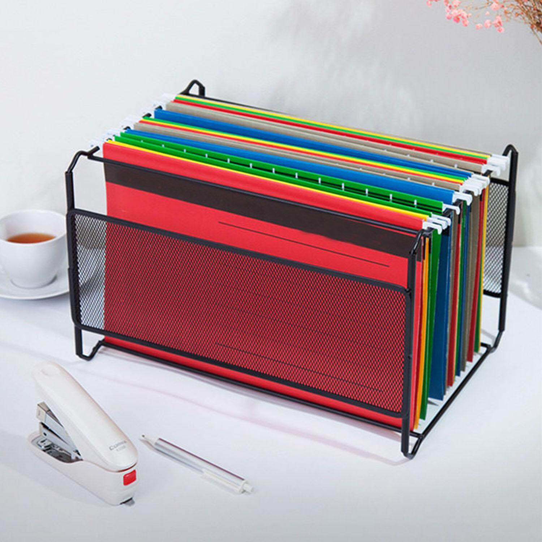 A4 Senter Surya Desktop Logam Gantung Penyimpanan Berkas Organizer Pemegang Folder Nampan Kotak untuk Majalah Katalog Koran Daily Mail Jurnal Hitam