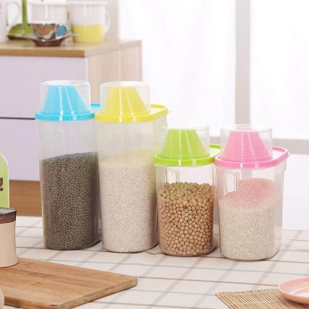 ... Super Besar Volume Disegel Plastik Kaleng Dapur Kotak Penyimpanan Transparan Toples Makanan Tangki Mudah Menuangkan Gandum