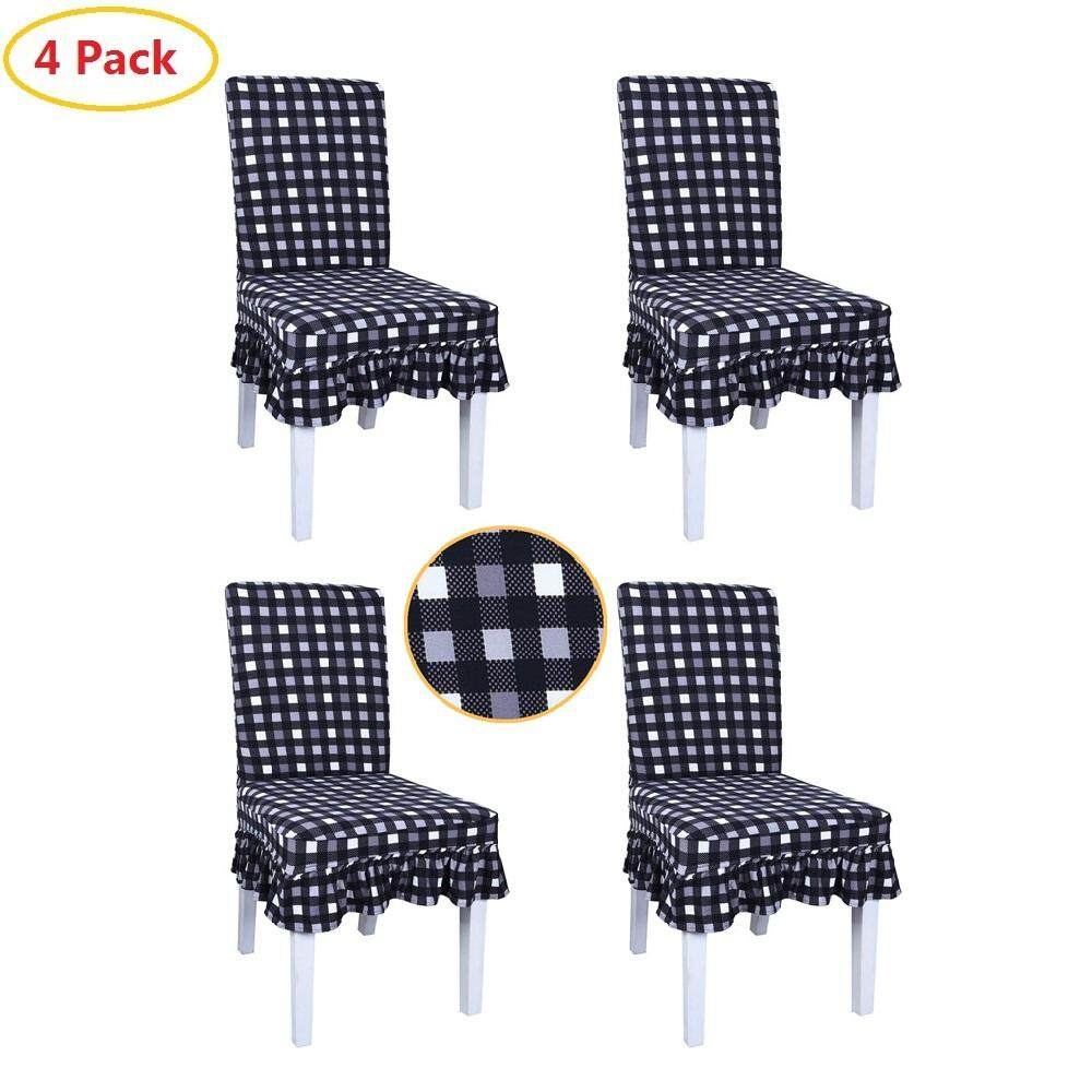4 Pcs Print Pattern Ruffled Long Skirt Chair Covers Removable Washable Chair Slipcovers