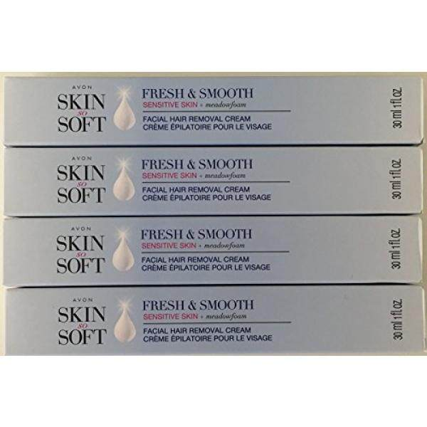 Avon Skin so Soft Fresh & Smooth Sensitive Skin Facial Hair Removal Cream 1 oz Each. A Lot of 4 / From USA