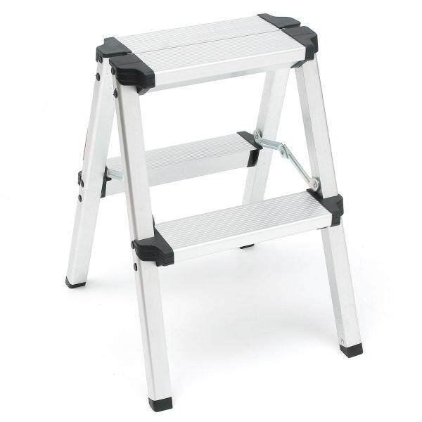 150KG 50cm 2 Step Stool Folding Ladder Anti Slip Safety Aluminium Frame Ladder