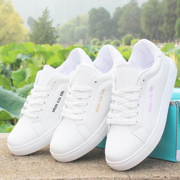 Dengan Sepatu Putih Kulit Mie Han Ban Xiao Tahan Air dan Datar Bawah Sepatu Pelajar Kasual 'S Sepatu Atletik dari Sepatu Papan Pecinta Gaya sepatu Putih Daftar Sepatu Wanita-Intl