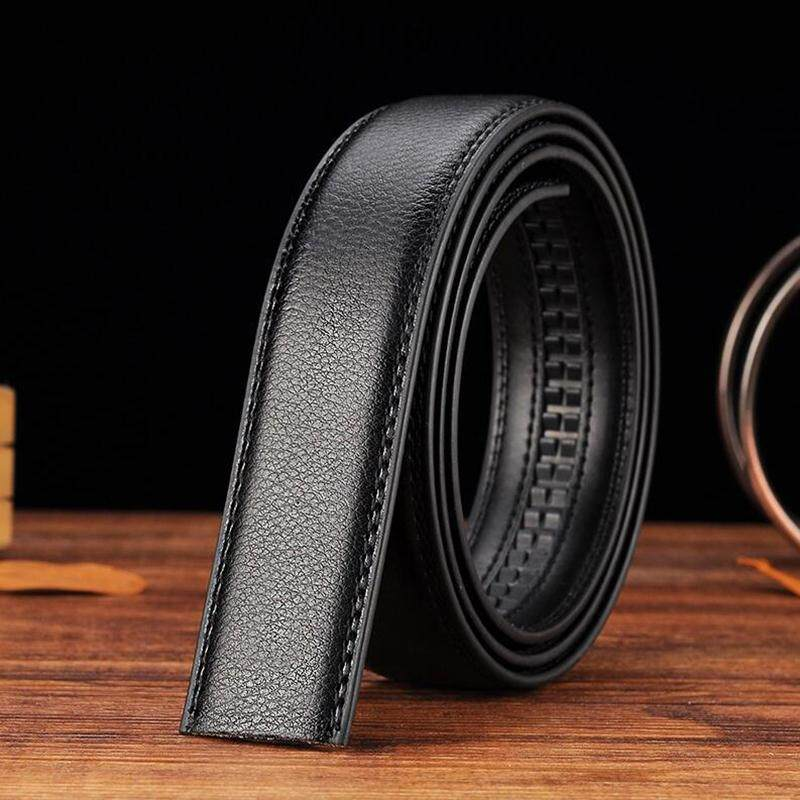 Luxury Men's Leather Automatic Ribbon Waist Strap Belt Without Buckle Black - intl