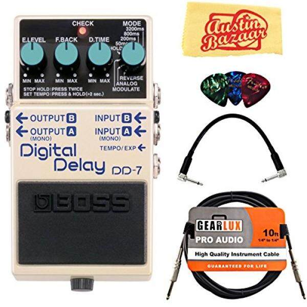 Boss DD-7 Digital Delay Bundle with Instrument Cable, Patch Cable, Picks, and Austin Bazaar Polishing Cloth / From USA - intl