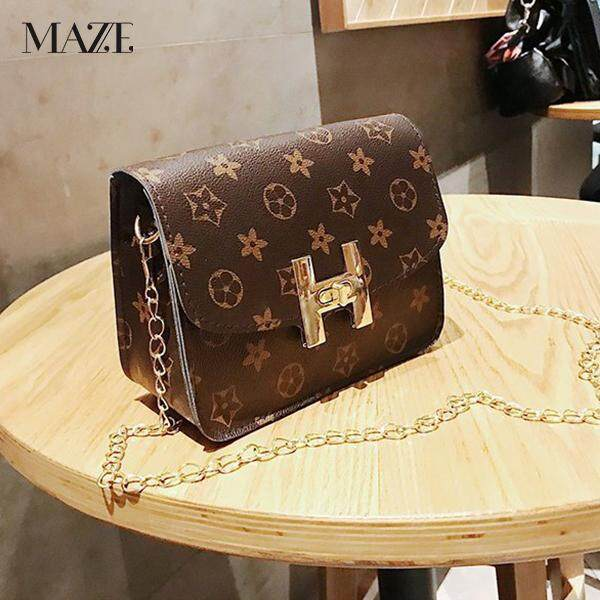 MAZE Hara Small Cute Sling Bag Gold Chain PU Leather Pouch